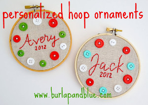 Personalized Embroidery Hoop Ornaments