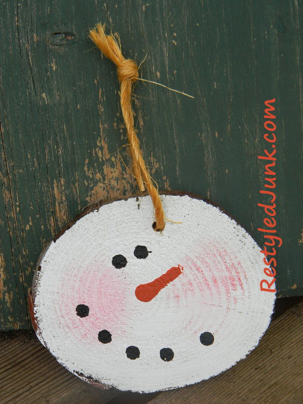 log slice snowman ornament