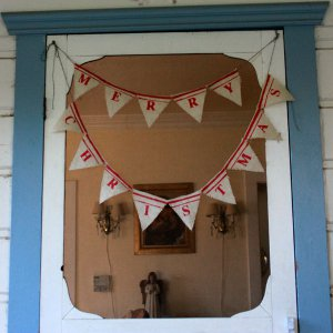 Burlap Flags Christmas Banner