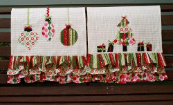 Colorful Retro Christmas Dishtowel