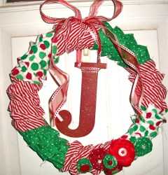 Ruffled Fabric Christmas Wreath